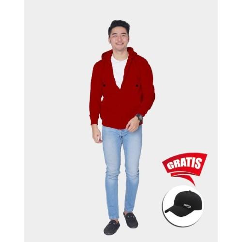 Foto Produk Vallenca Jaket Zipper Pria Polos Warna Merah Maroon Gratis Topi Keren - S dari VALLENCA OFFICIAL
