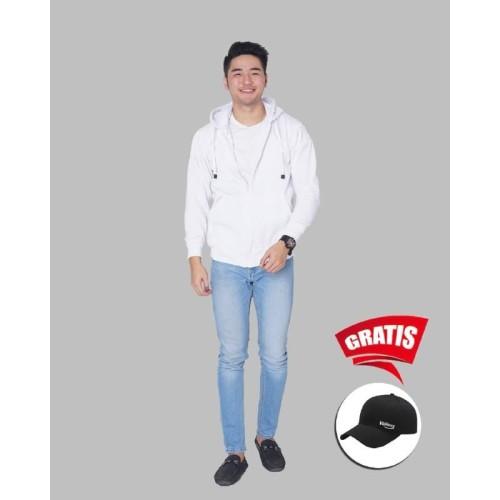 Foto Produk Vallenca Jaket Zipper Pria Polos Warna Putih Gratis Topi Keren - S dari VALLENCA OFFICIAL