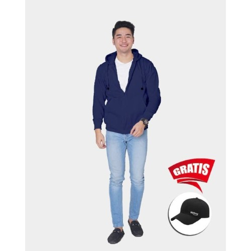 Foto Produk Vallenca Jaket Zipper Pria Polos Warna Biru Gratis Topi Keren - S dari VALLENCA OFFICIAL