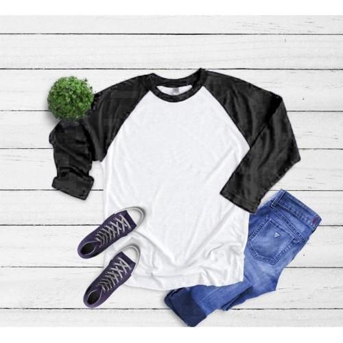 Foto Produk Vallenca Kaos Raglan Lengan 3/4 Warna Hitam Putih Polos Original - S dari VALLENCA OFFICIAL