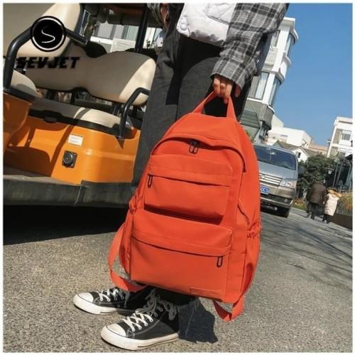Foto Produk Tas Ransel Laptop / Tas Kuliah Retro Korean Backpack - Merah dari PITUDUS