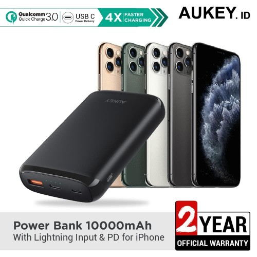Foto Produk Aukey Powerbank 10000mAh with Lightning Input & PD for Iphone - 500382 dari AUKEY
