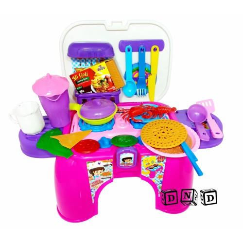 Foto Produk Mainan Anak Kitchen Set Bangku Juru Masak Masakan Pink Dapur JM989 dari Toko DnD