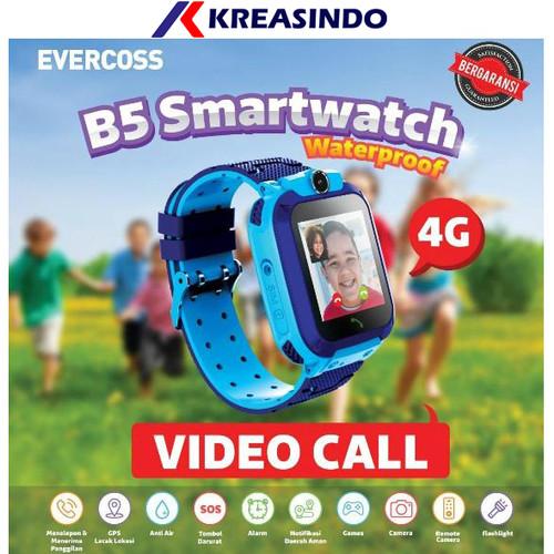 Foto Produk Jam Tangan Anak Smartwatch Kids Evercoss B5 Video call Resmi - Biru dari Kreasindo Online