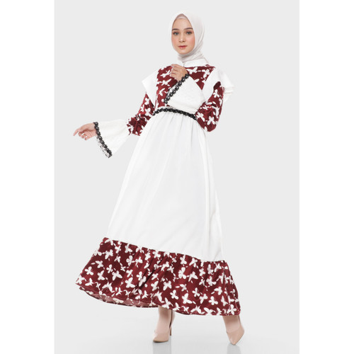 Foto Produk Hijab Ellysha KIMORRA BUTTERFLY EMBROIDERY EXCLUSIVE DRESS MAROONWHITE dari Hijab Ellysha Official
