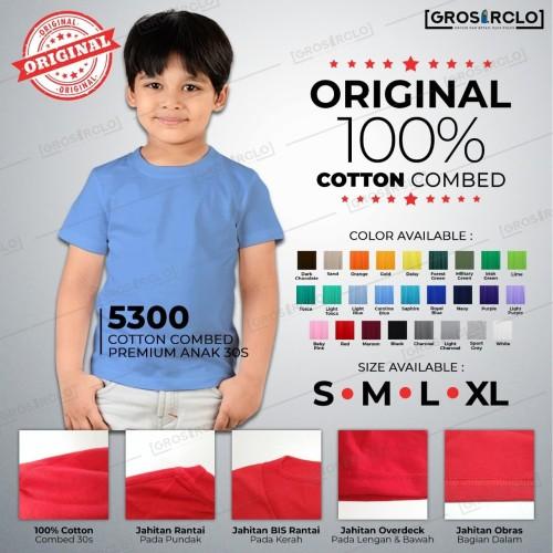 Foto Produk Kaos Polos Anak anak katun kombed Cotton combed 30 s 5300 S - XL dari Grosir clo