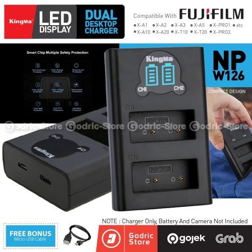 Foto Produk KINGMA LCD DUAL CHARGER NP-W126 Fujifilm XA3 XA5 XA10 XA20 XT20 Etc dari G-Rex