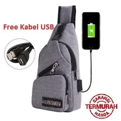 Foto Produk tas selempang kanvas pria/sling bag/tas slempang Cowok USB KANVAS #03 - Abu-abu dari Alat Ukur Dan Repeater
