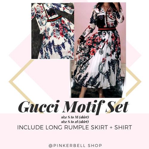 Foto Produk gucci motif set imported BKK (kemeja dan rok) dari PinkerbellShop