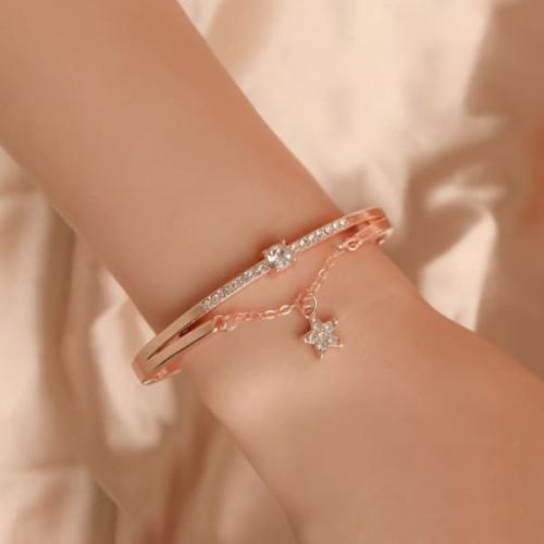 Foto Produk gelang fashion bintang star diamond women's bracelets jge085 - Silver dari Oila