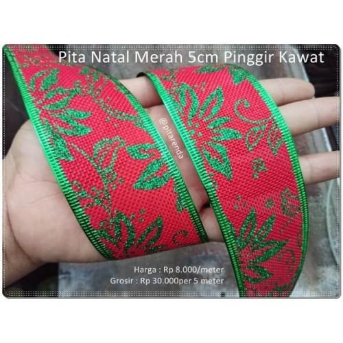 Foto Produk PITA-15 : Pita Natal Pinggir Kawat Import 5cm (per meter) dari Pita Renda