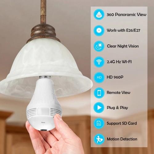 Foto Produk Kamera CCTV Bulb Lampu Bohlam Spy Wireless Wifi Panorama 360 IP Camera dari fav_stuff9910
