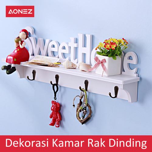 Foto Produk AONEZ Dekorasi Kamar Rak dinding (dengan 4 buah hook gantungan) - Putih dari AONEZ Official Store