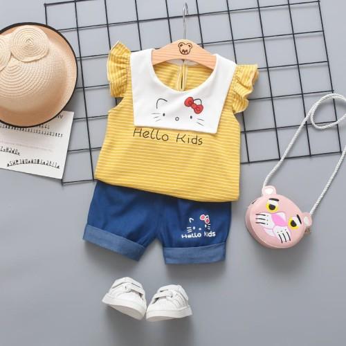 Foto Produk BAJU ANAK PEREMPUAN IMPORT - 649 - SETELAN ANAK HKITTY - Kuning, 12 dari victori store