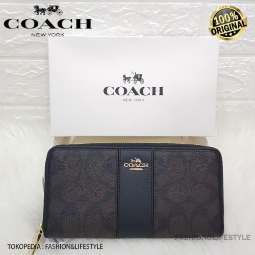 Foto Produk COACH LONG WALLET STRIP BLACK CANVAS WOMENS 100% AUTHENTIC dari Fashion&LifeStyle