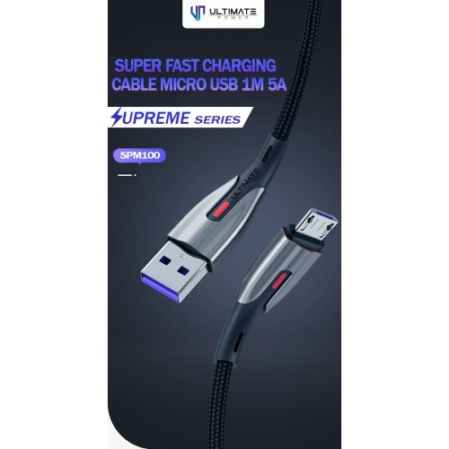 Foto Produk Ultimate Kabel Data Cable Charger Supreme Micro USB 1M 5A SPM100 dari Ultimate Power Official
