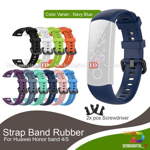 Foto Produk Strap Band Rubber For Huawei Honor band 4/5 - Navi Blue dari serbadigital-id