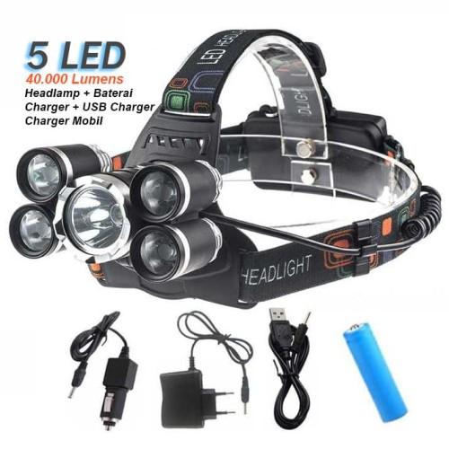Foto Produk Paket senter kepala 5 LED Headlamp XML T6 40000 Lumens dari Rumah Susun