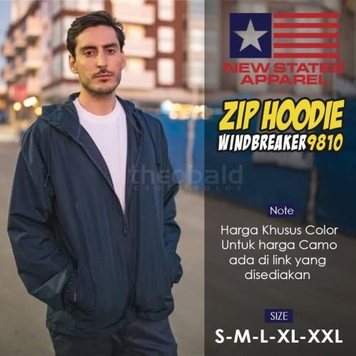Foto Produk Jaket Hoodie Zipper Polos New States Apparel Windbreaker 9810 (COLOR) - Black, S dari Kaos Polos Theobald