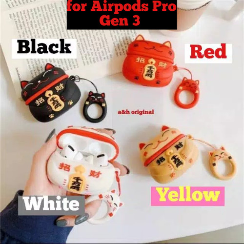 Foto Produk Airpods Pro Case Lucky Cat Air Pods Pro Silicone Protection Cover - Hitam dari a&h original
