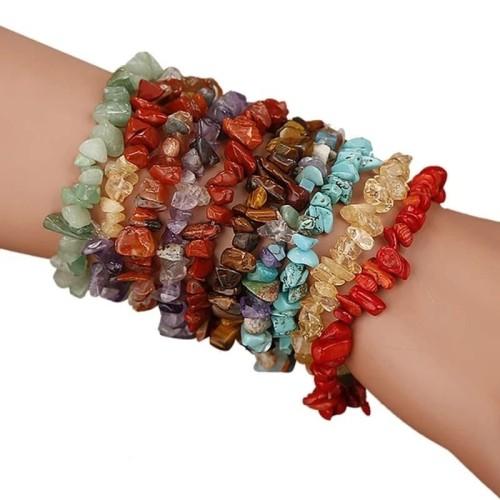 Foto Produk Gelang batu alam kerikil POLOS etnik natural chips stone bracelet BG32 - KECUBUG UNGU dari Bungas Gemstone