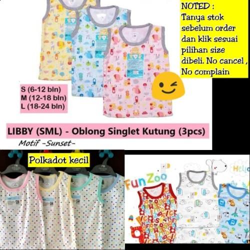 Foto Produk Baju Bayi Libby Kaos oblong singlet kutung buntung anak bayi motif SML - Size S, Polka 3w dari Luckiest Se7en Shop