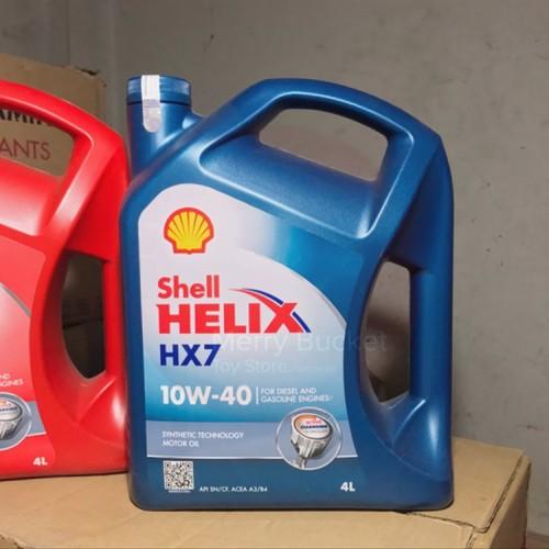 Foto Produk Oli Mesin Oli Mobil Bensin Diesel Shell Helix HX 7 Blue 4 Liter dari tasya galery baru