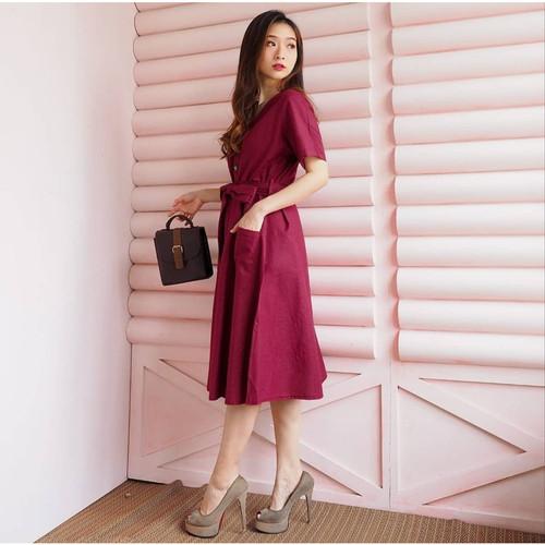 Foto Produk DRESS WANITA VERY GOOD QUALITY SIMPLE MURAH CANTIK BESTSELLER BESAR - MAROON dari KPStore Fashion Online