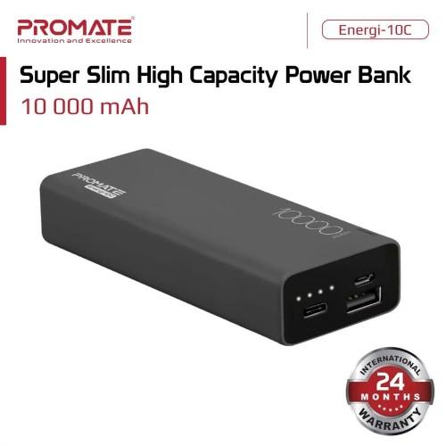 Foto Produk Promate Power Bank 10000 mAh Ultra Slim - Energi-10C Powerbank 10000mA - Hitam dari Promate Indonesia