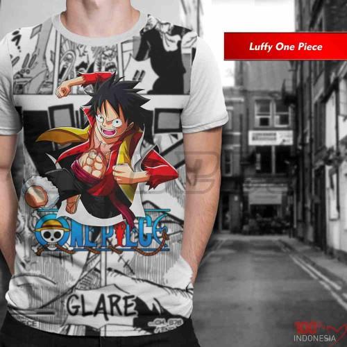 Foto Produk Kaos Print 3D Anime Limited Luffy One Piece Baju Pria Wanita Anak dari Kaos Seni