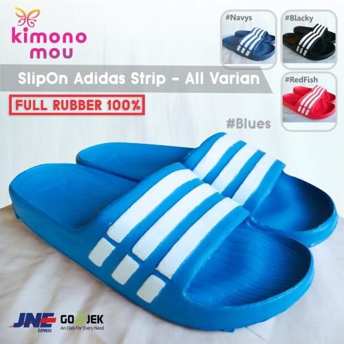Foto Produk Sandal SlipOn Strip - Sendal Slop Pria / Cowok - Karet - New Simple - Blues, 39 dari Kimono Mou