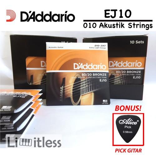 Foto Produk Daddario EJ 10 Senar Gitar Akustik D'addario Acoustic Original USA dari Limit-less Store