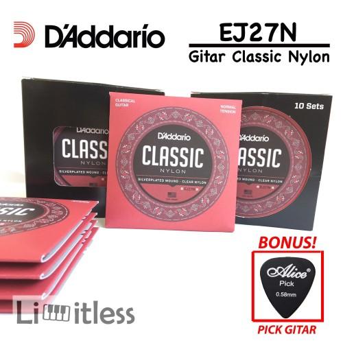 Foto Produk Daddario EJ27N EJ 27N Senar Dadario Gitar Classic Nylon Original USA dari Limit-less Store