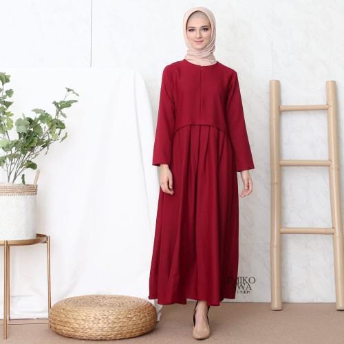 Foto Produk Gamis PLEATED - Emikoawa / Dress / Maxi /BUSUI/ Souvenir / Berkualitas - Maroon dari emikoawa
