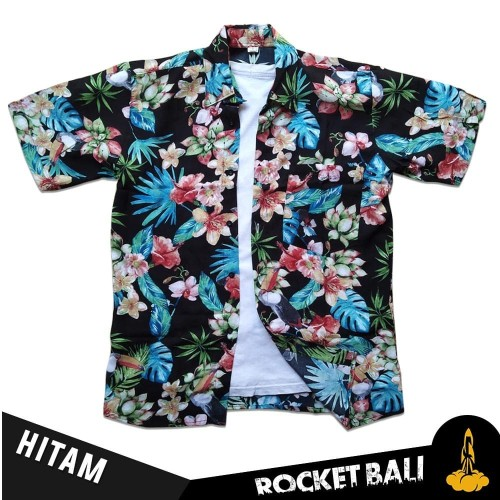 Foto Produk Baju Motif Bunga - Kemeja Floral - Kemeja Bunga-Bunga Rocket Bali - Hitam, M dari Rocket Bali