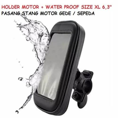 Foto Produk HOLDER MOTOR + WATER PROOF SIZE XL 6.3inch PASANG STANG MOGE SEPEDA dari TECHNO LIVE