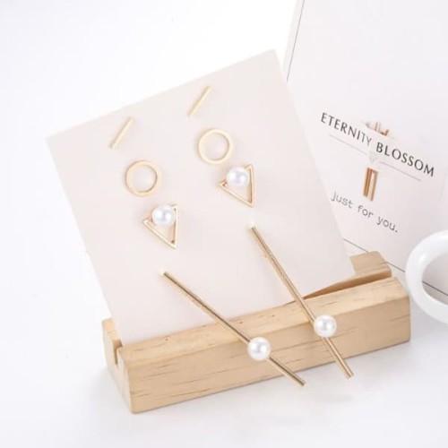 Foto Produk anting set 4 pasang simple geometric pearl earrings jan192 dari Oila