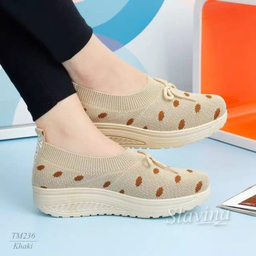 Foto Produk K37 - Sepatu Fashion Slavina Sepatu Wanita Import - Khaki, 36 dari JunerStore