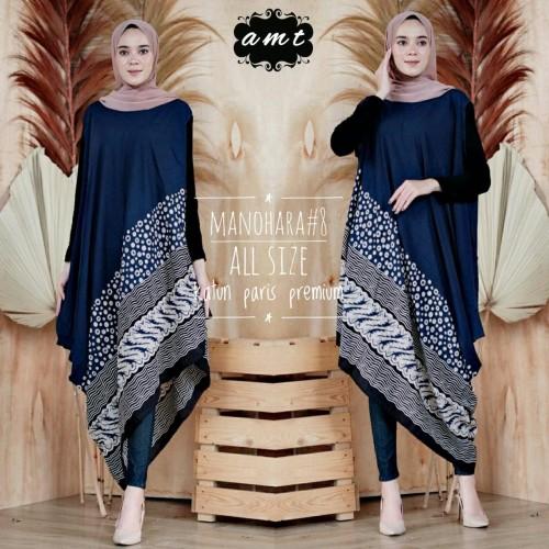 Foto Produk batik Sri sleeveless long tunic baju kondangan modern - navy dari Batik Sri