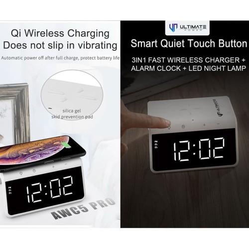 Foto Produk Ultimate Power Wireless Fast Charger 3in1 Alarm Clock Lamp Night AWC5 - Putih dari Ultimate Power Official