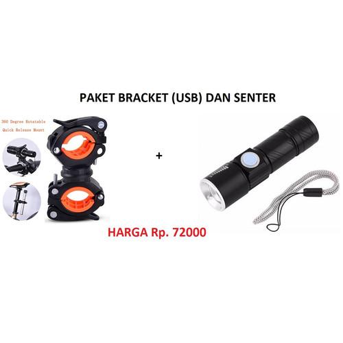 Foto Produk PAKET SENTER SEPEDA USB RECHARGE 2000 Lumens DAN BRACKET SENTER SEPEDA dari angelique macarons
