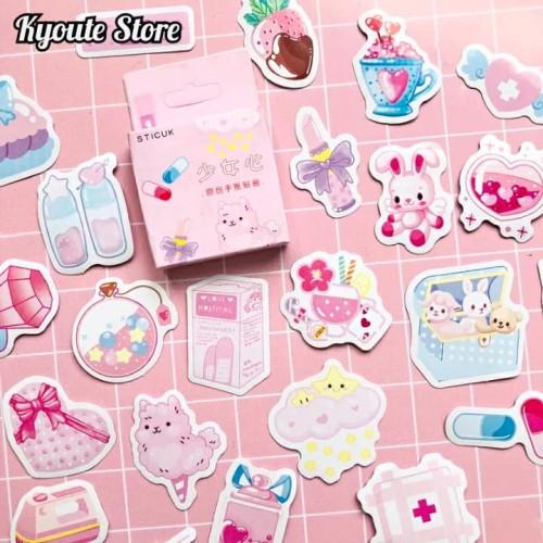 Foto Produk Sticker Deco Cute Pink Medicine Scrapbook DIY Bujo Planner Diary dari Kyoute Store