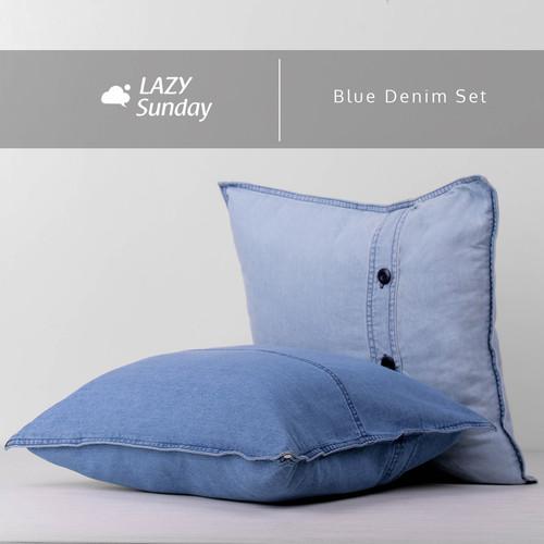 Foto Produk Sarung Bantal Kursi Sofa Denim 40x40 cm - LAZY Sunday - - Blue Denim Set dari LAZY Sunday Store