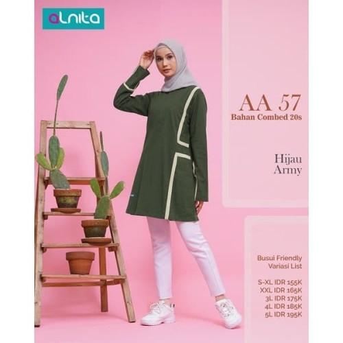 Foto Produk Baju Atasan Wanita Muslimah Dewasa Alnita AA 57 Coklat & Hijau - Cokelat, S dari musdechijab