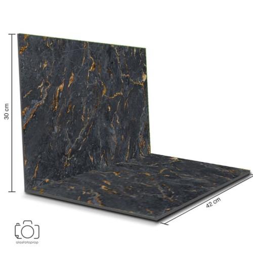 Foto Produk Alas Foto Lipat Marble Hitam 42x30 cm / Background Foto marmer (ML-08) dari alasfotoprops