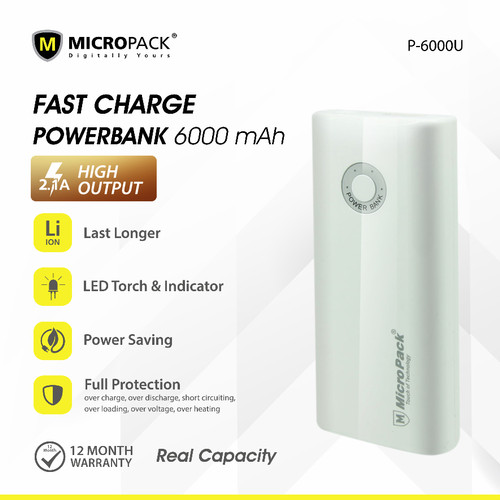 Foto Produk Power Bank 6000 mAh with Micro USB & Lightning MicroPack P6000U - Putih dari Micropack Official Store