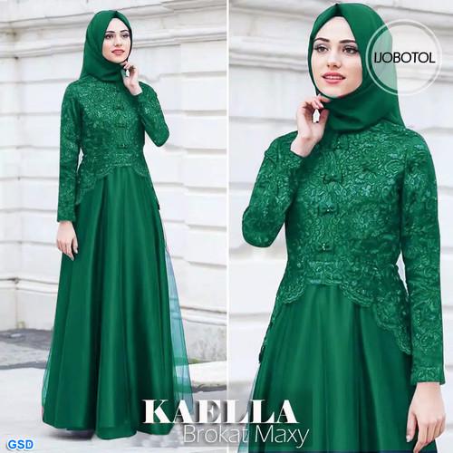 Foto Produk Maxi kaella/gamis brokat/maxi dress muslim/baju hijab murah tren - Hijau dari Human Needs