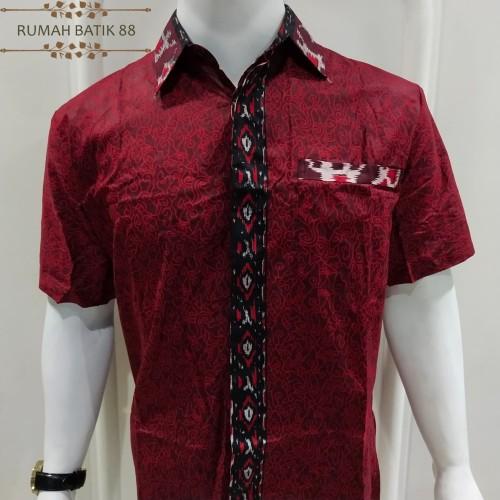 Foto Produk Kemeja Batik Pria Lengan Pendek Murah Baju Batik Cowok Simple - Merah, XL dari RUMAH BATIK 88
