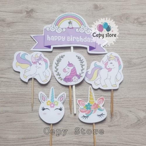 Foto Produk Cake Topper Happy Birthday / Cake Topper Unicorn / Hiasan Kue Unicorn dari Cepy Store
