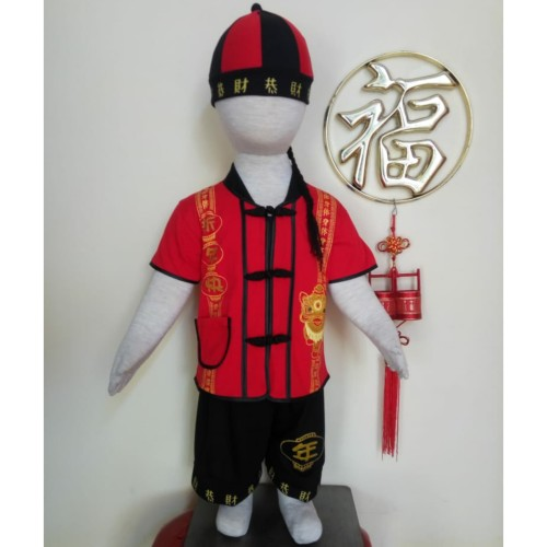 Foto Produk Setelan Imlek Cheongsam Baby Laki-Laki Bahan Kaos Bonus Topi dari Piyo Onlineshop